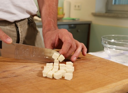 Tofu is easily cut into cubes.