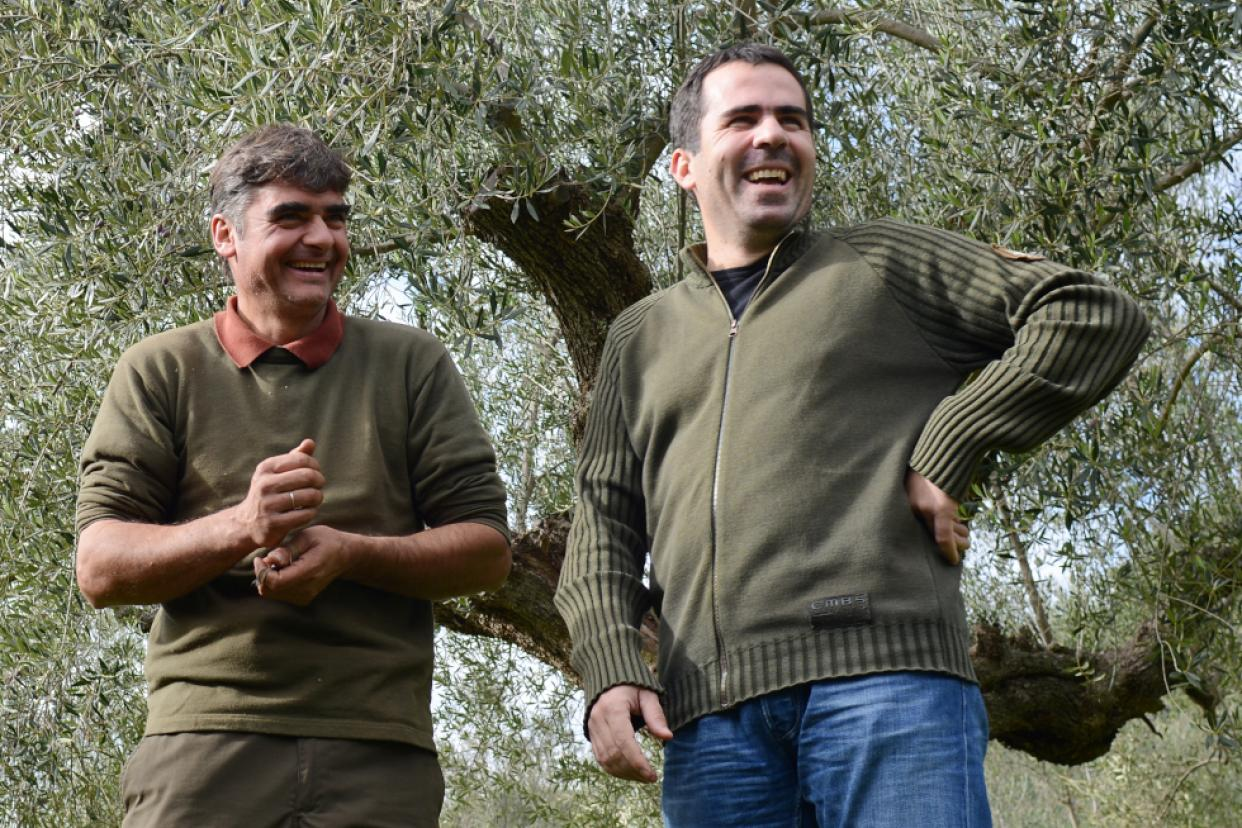 Epikouros' production manager Michalis (right) and his colleague Efthimios
