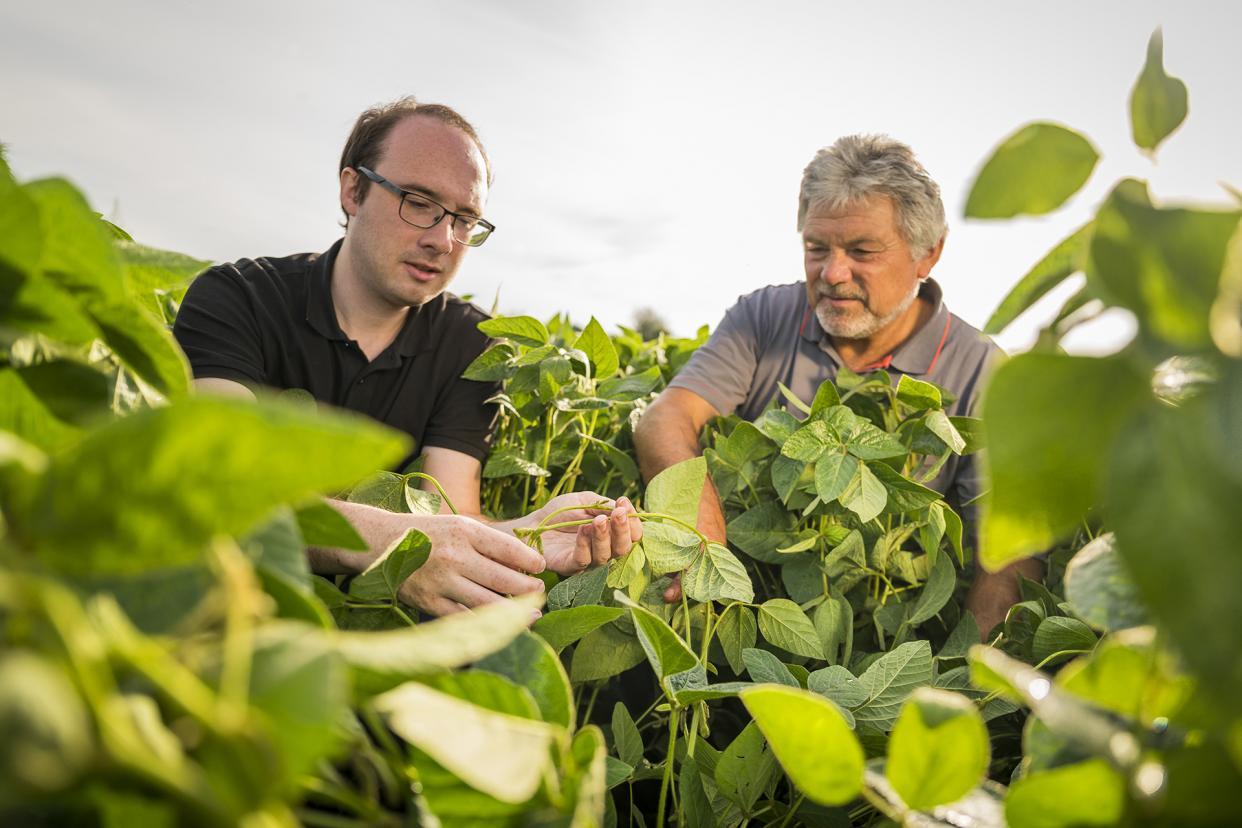 Taifun-Sojaexperte Peter Froschhammer (l.) im Gespräch mit Landwirt Otmar Binder (r.)